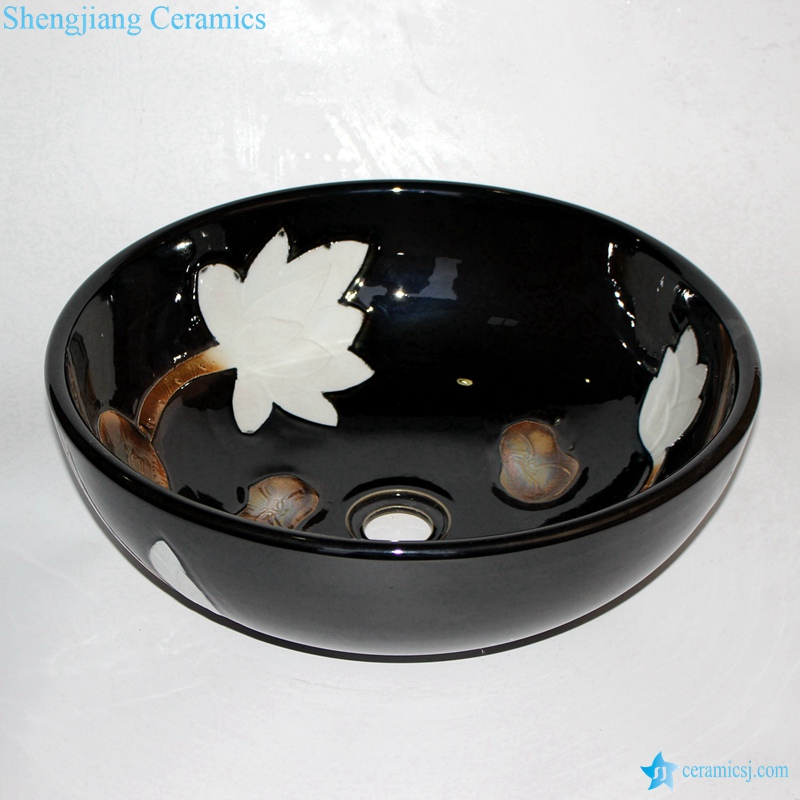 RZCE07-A_9119 RZCE07-A Shinny black glazed engraving white lotus pattern restaurant pub toilet round ceramic sink basin - shengjiang  ceramic  factory   porcelain art hand basin wash sink