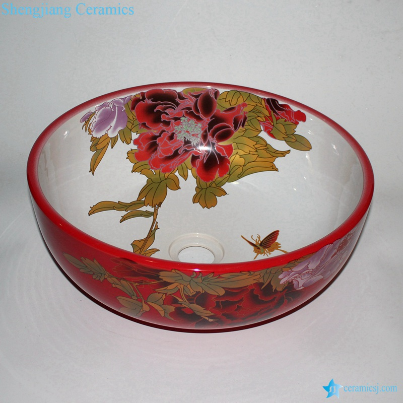 RZCE09_9129 RZCE09 Cheap price Peony flower pattern China red round cabinet top ceramic sink lavabo - shengjiang  ceramic  factory   porcelain art hand basin wash sink