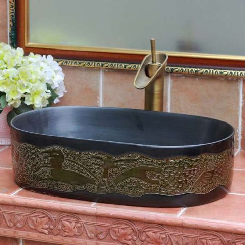TPAA-100 Black stone design oval shape ceramic sink