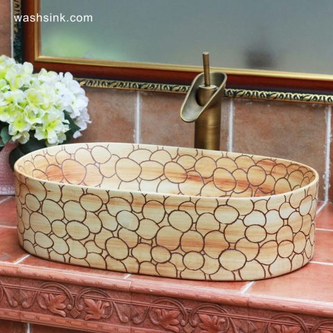 TPAA-103 Bubble design hand carved designer bathroom oval ceramic sinks