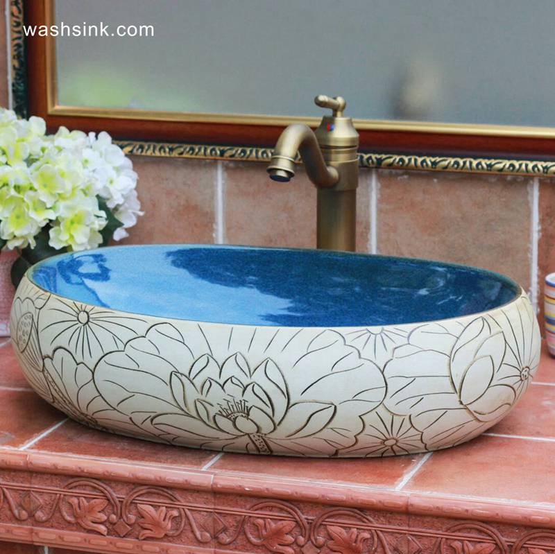 TPAA-152-w58×40×15j3135 TPAA-152 China supplier direct sale cheap price high quality hand carved lotus flower and leaves ceramic bathroom basin - shengjiang  ceramic  factory   porcelain art hand basin wash sink