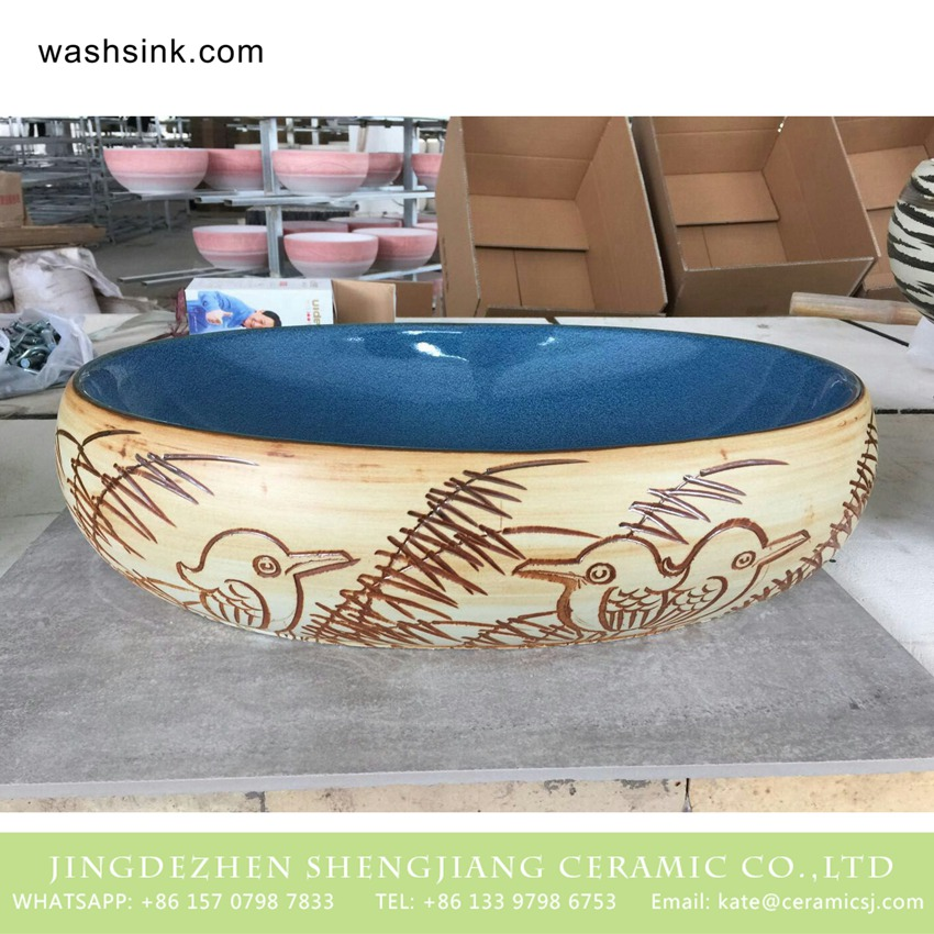 TPAA-162-w58×40×15j3135 TPAA-162 Chinese manufacture carved bird and reed pattern discount ceramic vessel sink - shengjiang  ceramic  factory   porcelain art hand basin wash sink