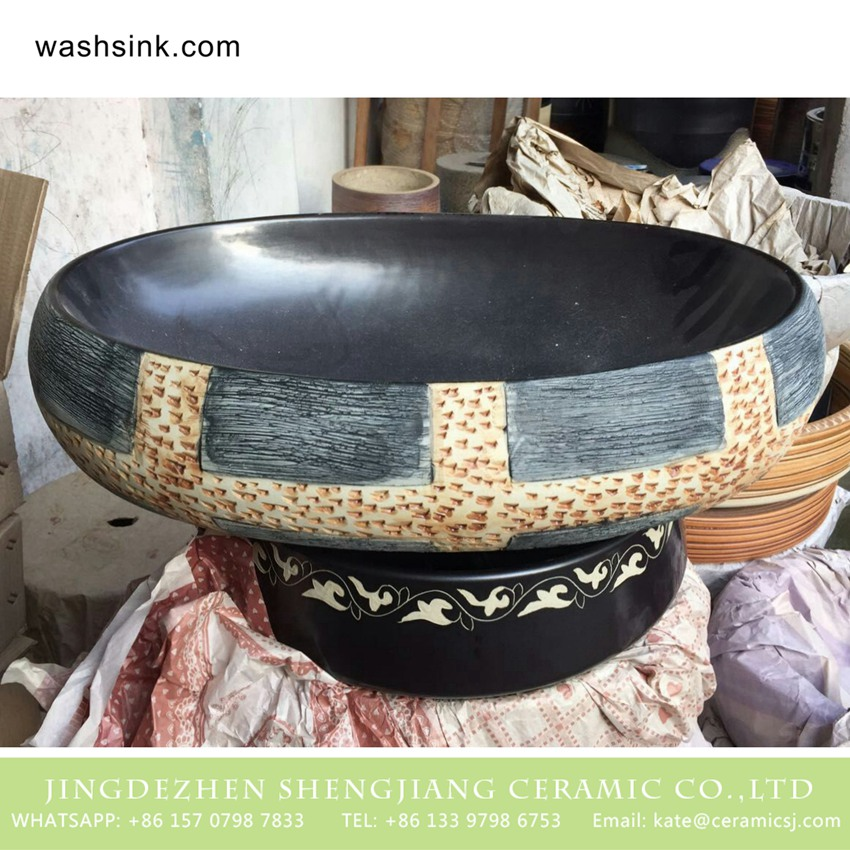 TPAA-166-w58×40×15j3135-2 TPAA-166 Basin ceramic factory online direct sale black style clay vanity unit - shengjiang  ceramic  factory   porcelain art hand basin wash sink