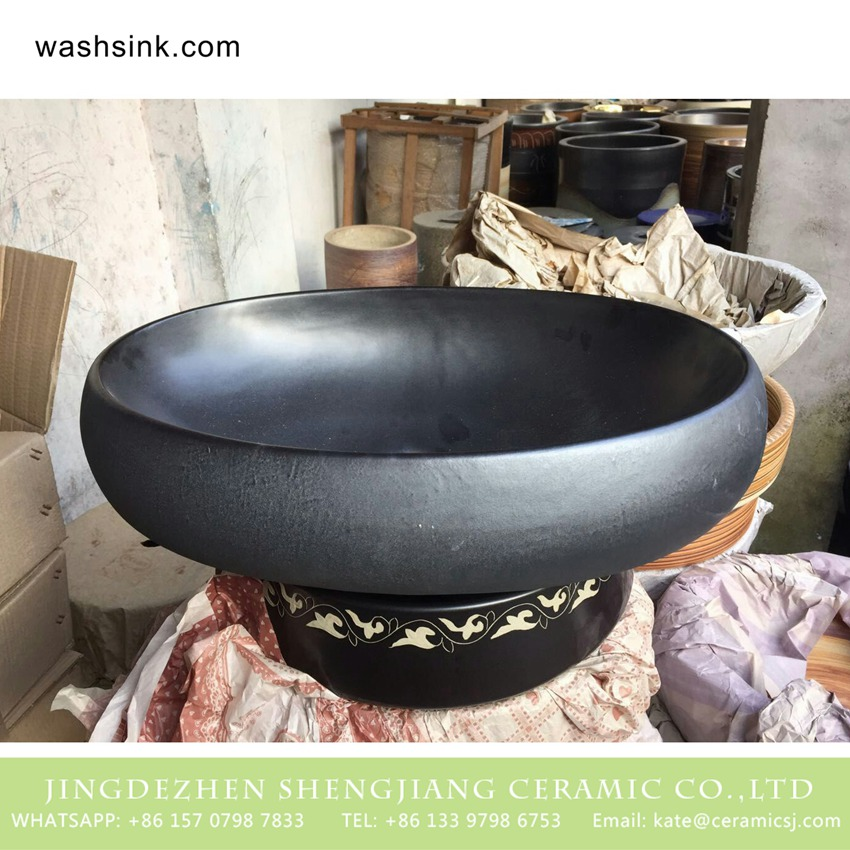 TPAA-170-w58×40×15j3135 TPAA-170 Asian oval matte black plain color porcelain cupboard bath wash basin - shengjiang  ceramic  factory   porcelain art hand basin wash sink