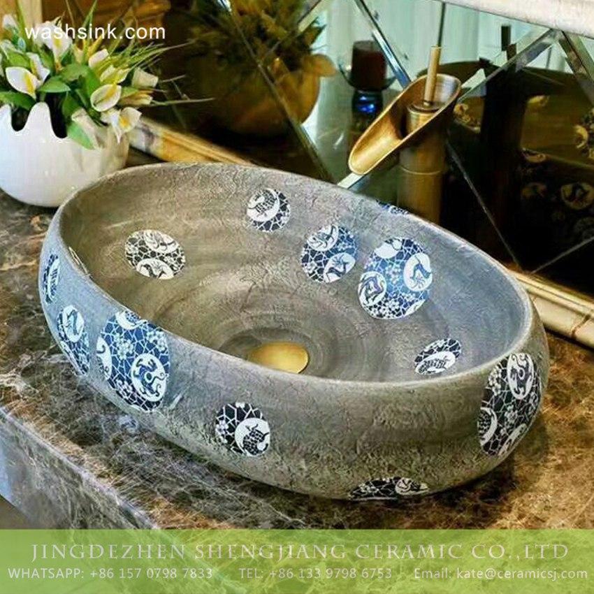 TPAA-175-w58×40×15j3135 TPAA-175 Wholesale price Jiangxi Jingdezhen blue and white dot authentic oval clay basin - shengjiang  ceramic  factory   porcelain art hand basin wash sink