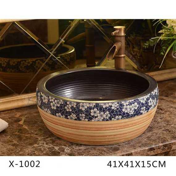 XHTC-X-1002-3 XHTC-X-1002 Jingdezhen factory antique wintersweet pattern round wash basin - shengjiang  ceramic  factory   porcelain art hand basin wash sink