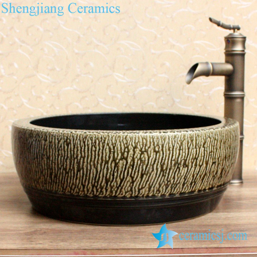 YL-B0_2084-1 YL-B0_2084 black inside tea dust glaze outside thickened counter top wash basin sink - shengjiang  ceramic  factory   porcelain art hand basin wash sink