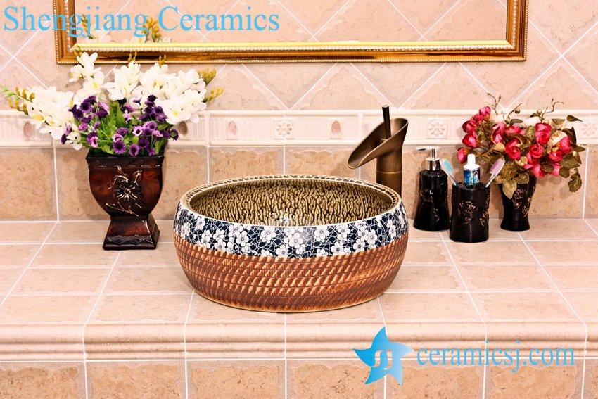 YL-B0_5256 YL-B0_5256 tea dust glaze inside engraving outside waist drum shaped table top lavabo basin sink - shengjiang  ceramic  factory   porcelain art hand basin wash sink
