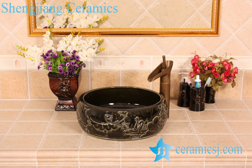 YL-B0_5383 YL-B0_5383 bright finish carving lotus flower black bathroom cabinet top sink bowl - shengjiang  ceramic  factory   porcelain art hand basin wash sink