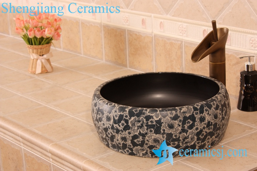 YL-B0_5479 YL-B0_5474 floral pattern matt finished round counter top wash basin sink - shengjiang  ceramic  factory   porcelain art hand basin wash sink