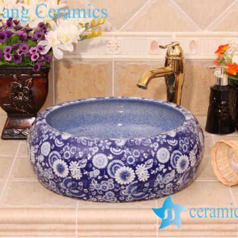 Floral Design Ceramic Pedestal Lavatory China Jingdezhen