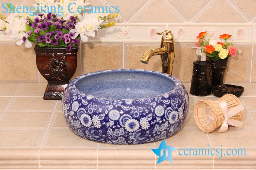 YL-B0_6433-1 YL-B0_6433 Blue floral cabinet top hand rinse ceramic basin - shengjiang  ceramic  factory   porcelain art hand basin wash sink