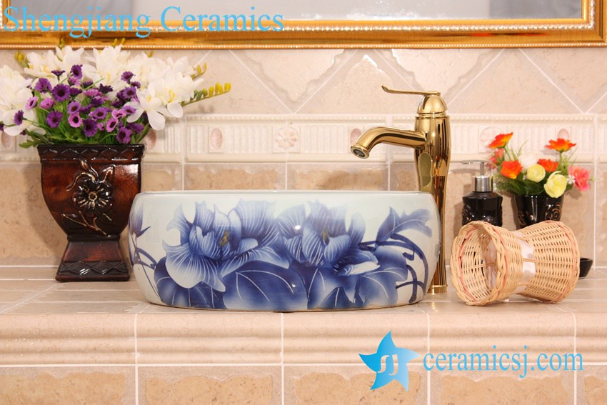 YL-B0_6606 YL-B0_6606 China supplier factory outlet price blue and white lotus round table top basin sink - shengjiang  ceramic  factory   porcelain art hand basin wash sink