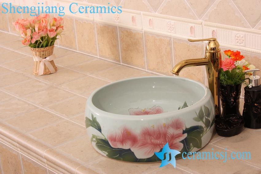 YL-B0_6830 YL-B0_6830 Red flower bathroom table top vessel sink basin - shengjiang  ceramic  factory   porcelain art hand basin wash sink