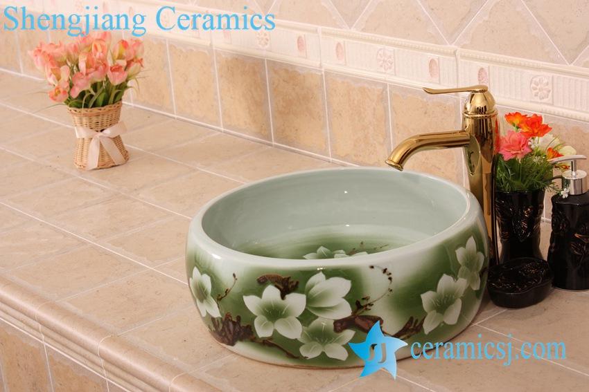 YL-B0_6833 YL-B0_6833 Round green hotel bathroom cabinet mount sink bowl - shengjiang  ceramic  factory   porcelain art hand basin wash sink