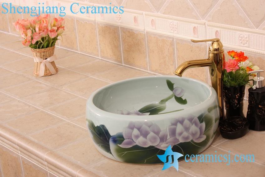 YL-B0_6834-1 YL-B0_6834 Hot sale independent type round ceramic basin bowl sink - shengjiang  ceramic  factory   porcelain art hand basin wash sink