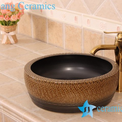 YL-B0_7225 Bathroom kitchen outdoor brown ceramic vessel sink basin with thickened layer