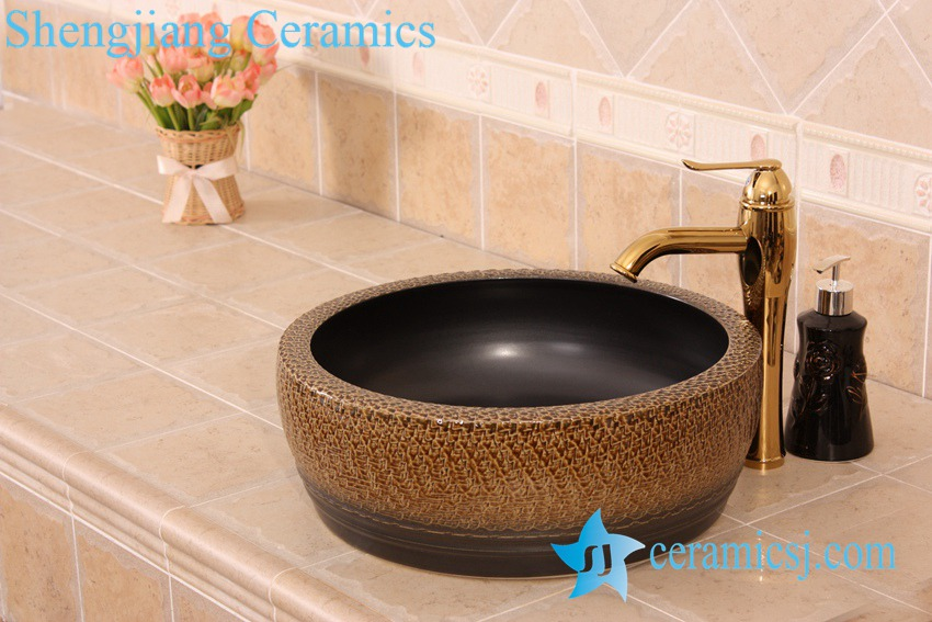 YL-B0_7225 YL-B0_7225 Bathroom kitchen outdoor brown ceramic vessel sink basin with thickened layer - shengjiang  ceramic  factory   porcelain art hand basin wash sink