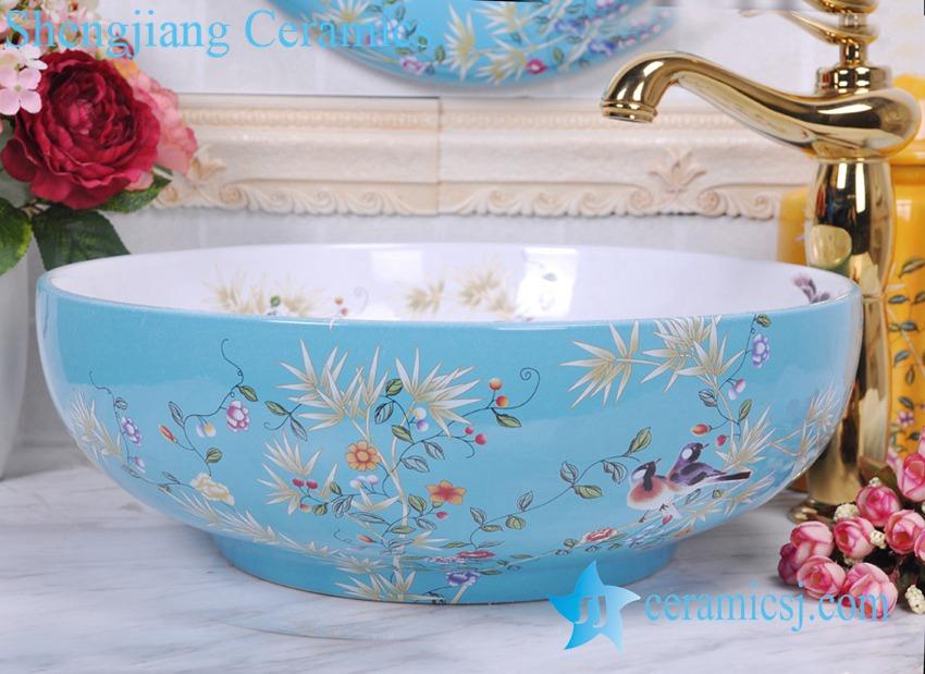 YL-C_0381 YL-C_0381 Chinese antique porcelain bathroom sink bowl with bird branch mark - shengjiang  ceramic  factory   porcelain art hand basin wash sink