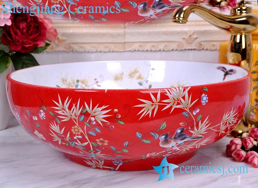 YL-C_0386 YL-C_0381 Chinese antique porcelain bathroom sink bowl with bird branch mark - shengjiang  ceramic  factory   porcelain art hand basin wash sink
