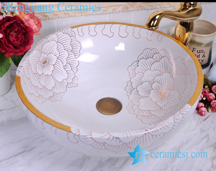 YL-C_0465 YL-C_0465 golden peony round ceramic counter above wash basin bowl - shengjiang  ceramic  factory   porcelain art hand basin wash sink