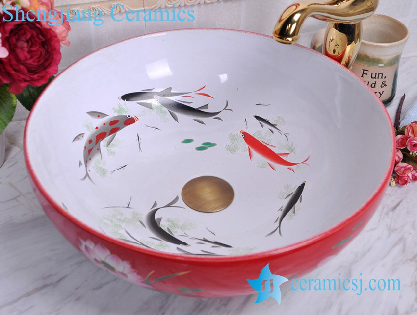 YL-C_0481 YL-C_0481 Koi fish inside louts flower outside cabinet top vessel sink baisn - shengjiang  ceramic  factory   porcelain art hand basin wash sink