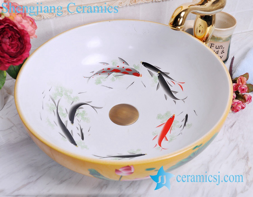 YL-C_0486 YL-C_0481 Koi fish inside louts flower outside cabinet top vessel sink baisn - shengjiang  ceramic  factory   porcelain art hand basin wash sink