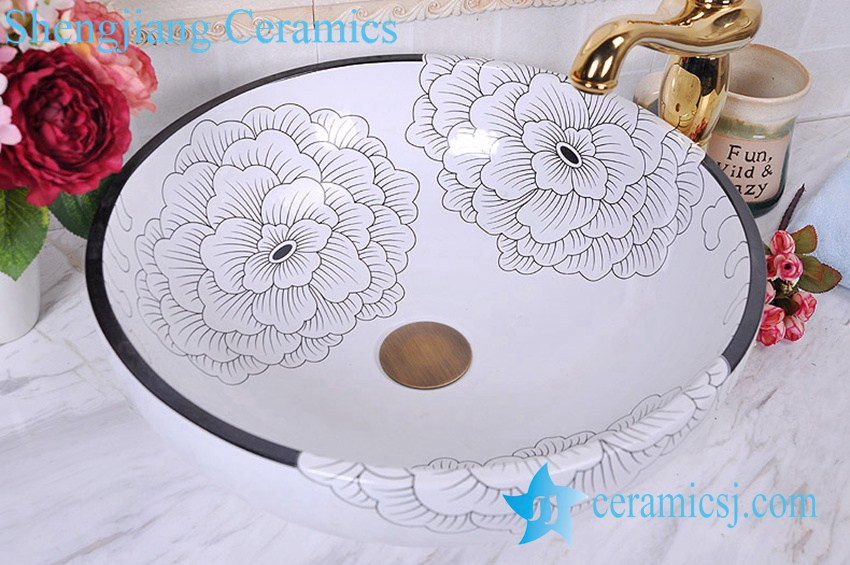 YL-C_0582 YL-C_0465 golden peony round ceramic counter above wash basin bowl - shengjiang  ceramic  factory   porcelain art hand basin wash sink
