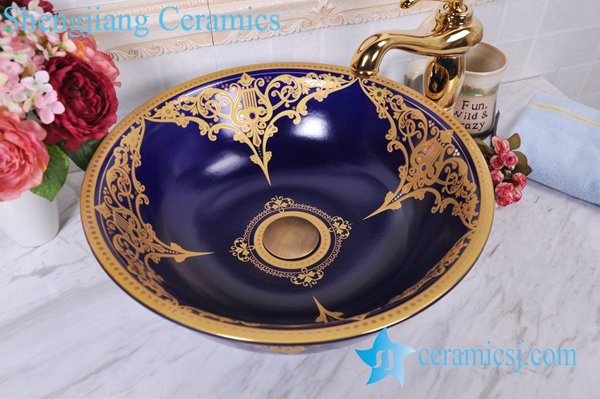 YL-C_0598 YL-C_0598 Ceramic gold plating table mount sink - shengjiang  ceramic  factory   porcelain art hand basin wash sink
