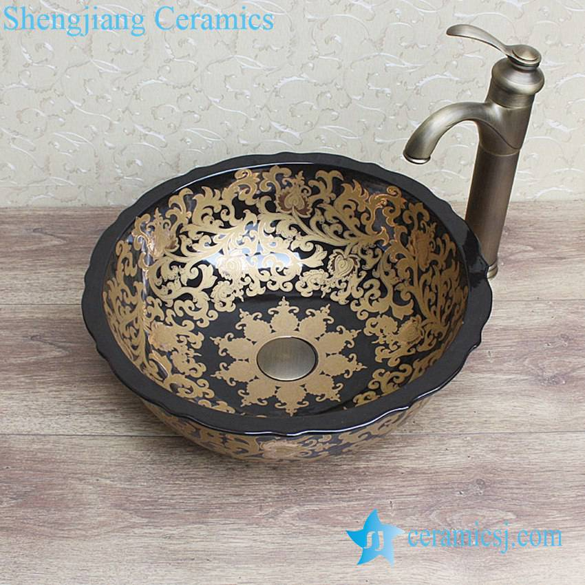 YL-C_0854 YL-C_0854 luxury round modern style black porcelain counter top sanitary ware - shengjiang  ceramic  factory   porcelain art hand basin wash sink