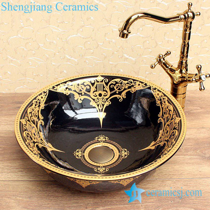 YL-C_1530 YL-C_0598 Ceramic gold plating table mount sink - shengjiang  ceramic  factory   porcelain art hand basin wash sink