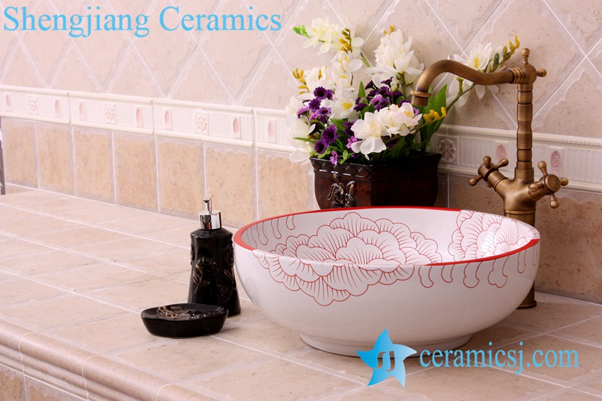YL-C_3420 YL-C_0465 golden peony round ceramic counter above wash basin bowl - shengjiang  ceramic  factory   porcelain art hand basin wash sink