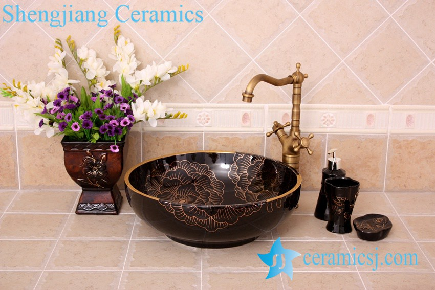 YL-C_3620 YL-C_0465 golden peony round ceramic counter above wash basin bowl - shengjiang  ceramic  factory   porcelain art hand basin wash sink