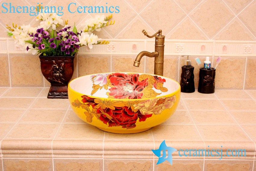 YL-C_3732 YL-C_4728 Colorful peony flower design porcelain counter top basin - shengjiang  ceramic  factory   porcelain art hand basin wash sink