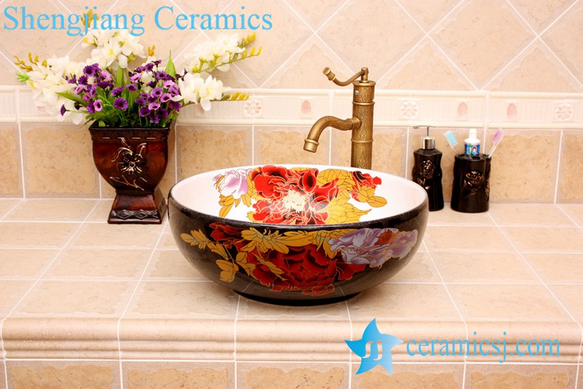 YL-C_3735 YL-C_4728 Colorful peony flower design porcelain counter top basin - shengjiang  ceramic  factory   porcelain art hand basin wash sink