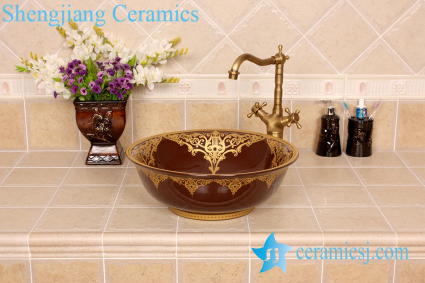 YL-C_4231 YL-C_0598 Ceramic gold plating table mount sink - shengjiang  ceramic  factory   porcelain art hand basin wash sink