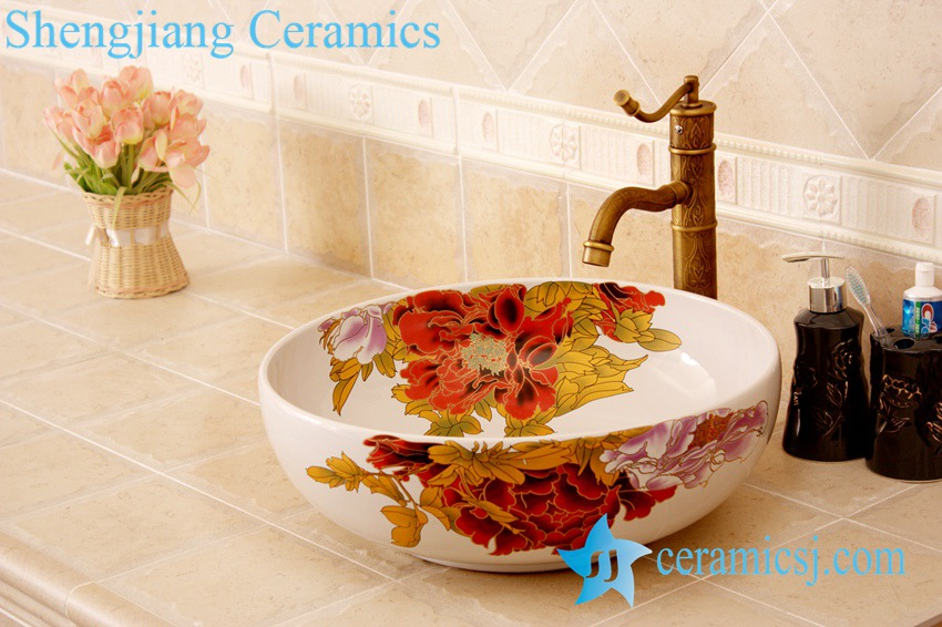YL-C_4474 YL-C_4728 Colorful peony flower design porcelain counter top basin - shengjiang  ceramic  factory   porcelain art hand basin wash sink