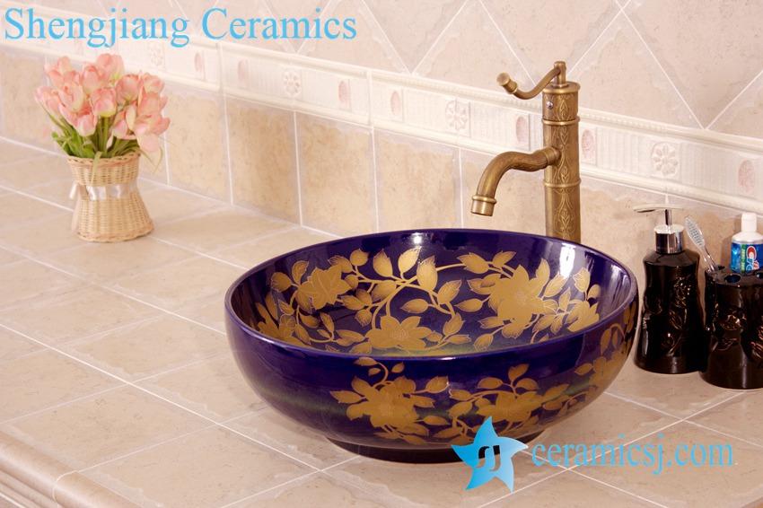 YL-C_4476-1 YL-C_4476 Round counter above ceramic wash hand rinse - shengjiang  ceramic  factory   porcelain art hand basin wash sink