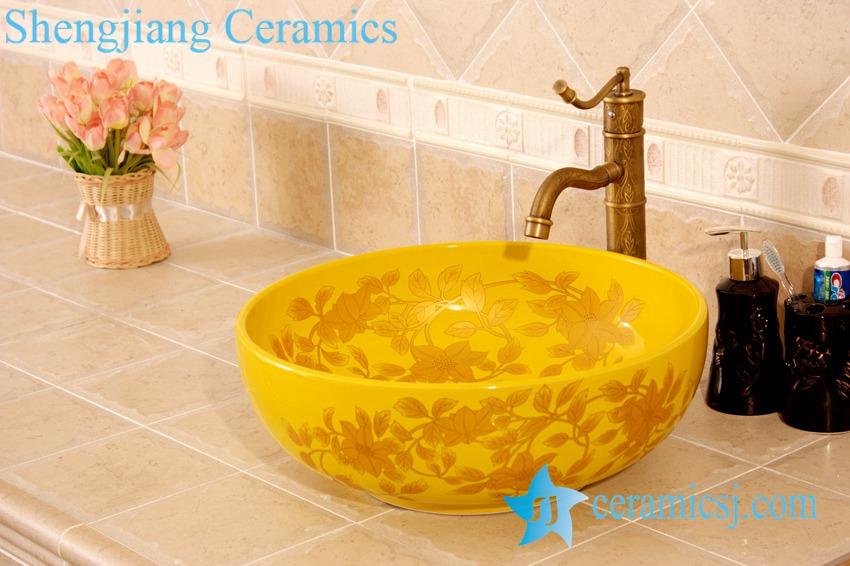 YL-C_4479-1 YL-C_4476 Round counter above ceramic wash hand rinse - shengjiang  ceramic  factory   porcelain art hand basin wash sink