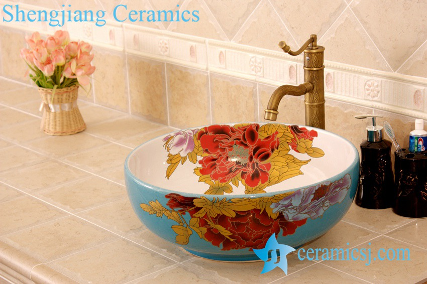 YL-C_4483 YL-C_4728 Colorful peony flower design porcelain counter top basin - shengjiang  ceramic  factory   porcelain art hand basin wash sink