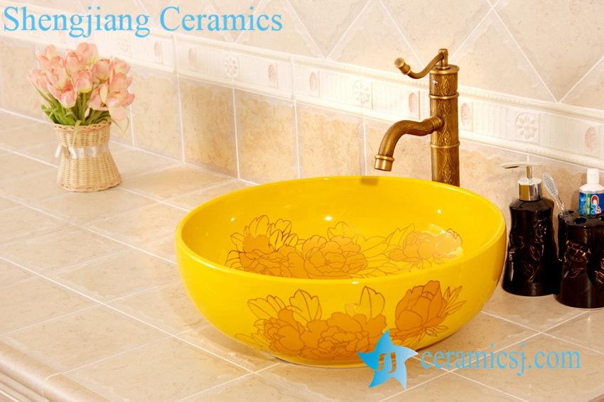 YL-C_4484-1 YL-C_4484 Round ceramic peony design table above sink basin - shengjiang  ceramic  factory   porcelain art hand basin wash sink
