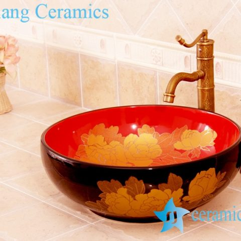 YL-C_4484 Round ceramic peony design table above sink basin