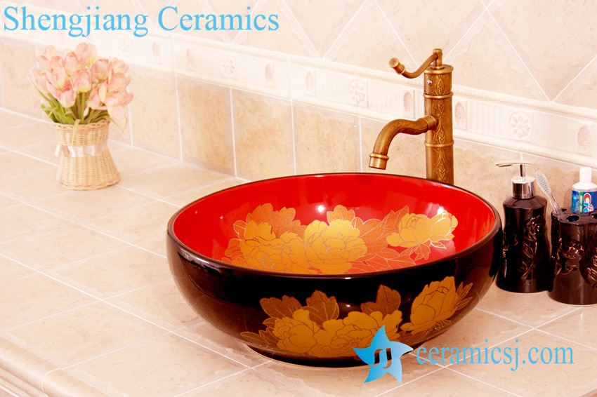 YL-C_4492-1 YL-C_4484 Round ceramic peony design table above sink basin - shengjiang  ceramic  factory   porcelain art hand basin wash sink