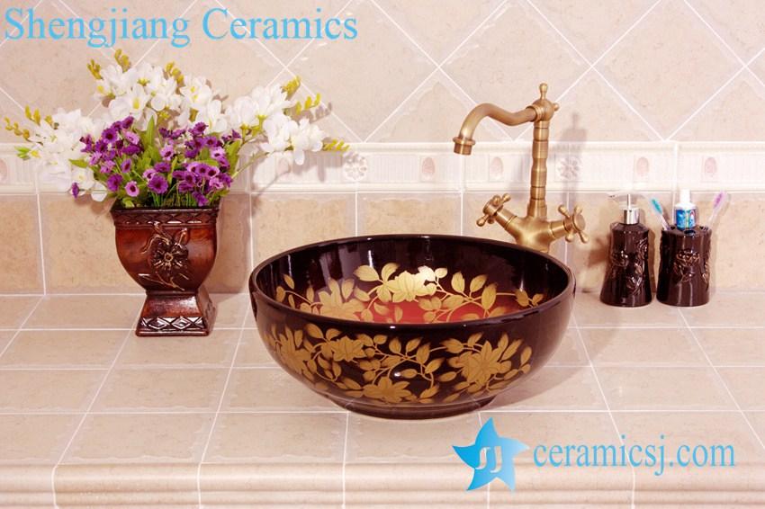 YL-C_4510 YL-C_4510 Round porcelain gold flower and leaf design cabinet above sink basin - shengjiang  ceramic  factory   porcelain art hand basin wash sink