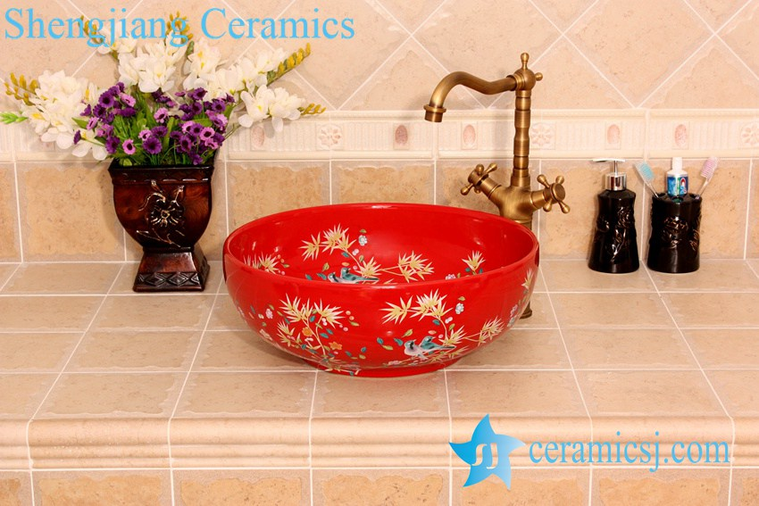 YL-C_4550 YL-C_4724 Colorful bird and flower art ceramic vanity top wash basin - shengjiang  ceramic  factory   porcelain art hand basin wash sink