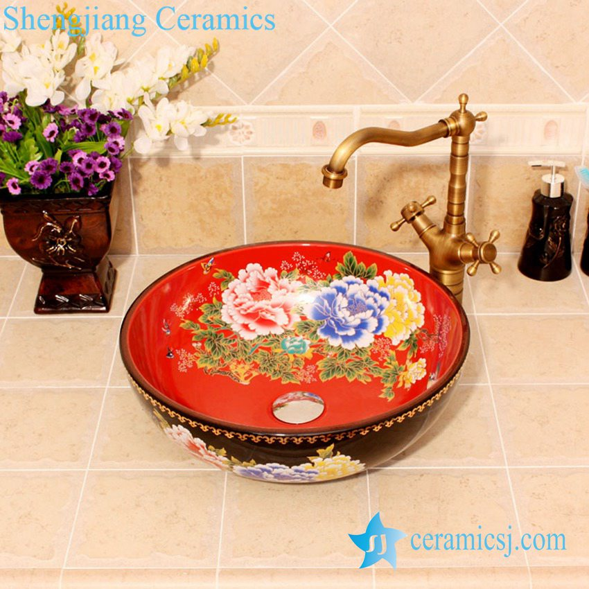 YL-C_4612 YL-C_4612 Peony flower design China style counter top wash basin bowl - shengjiang  ceramic  factory   porcelain art hand basin wash sink