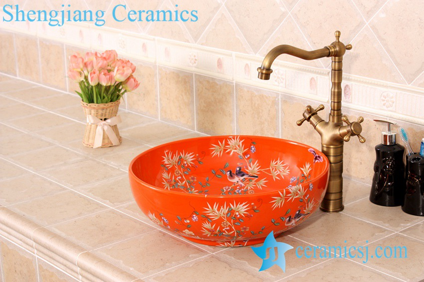 YL-C_4724 YL-C_4724 Colorful bird and flower art ceramic vanity top wash basin - shengjiang  ceramic  factory   porcelain art hand basin wash sink