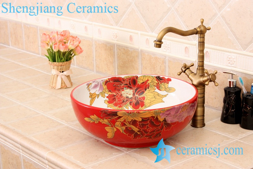 YL-C_4728 YL-C_4728 Colorful peony flower design porcelain counter top basin - shengjiang  ceramic  factory   porcelain art hand basin wash sink