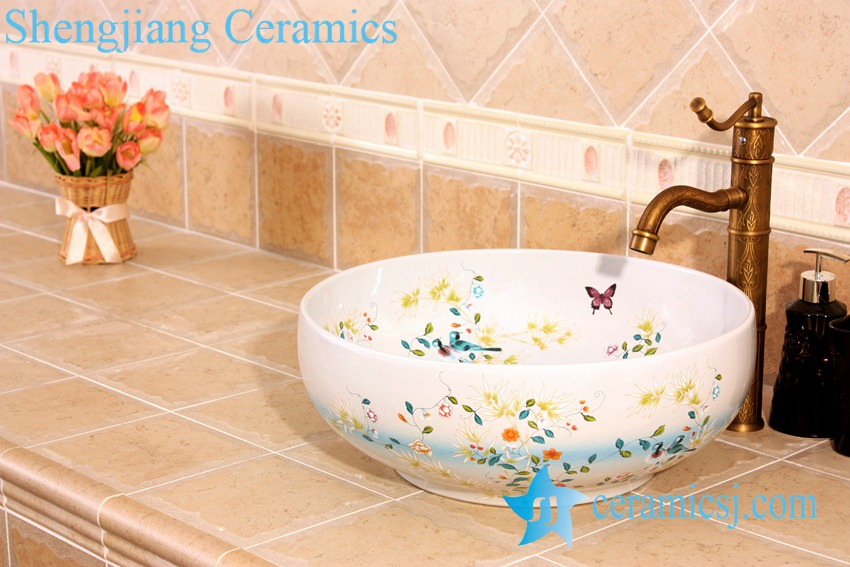YL-C_5003 YL-C_4724 Colorful bird and flower art ceramic vanity top wash basin - shengjiang  ceramic  factory   porcelain art hand basin wash sink