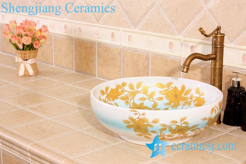 YL-C_5012-1 YL-C_5012 Fancy light blue ceramic table above sink bowl - shengjiang  ceramic  factory   porcelain art hand basin wash sink